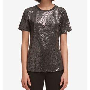 DKNY shimmery sequin top